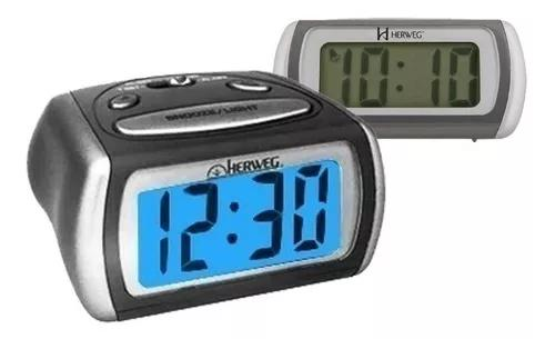 Relógio despertador digital preto prata luz led azul 2916
