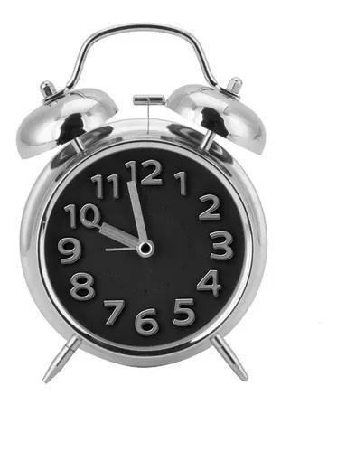 Relógio despertador estilo retrô a pilha sino de metal e