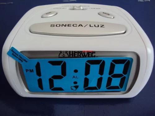 Relógio despertador pequeno digital branco luz led 2916