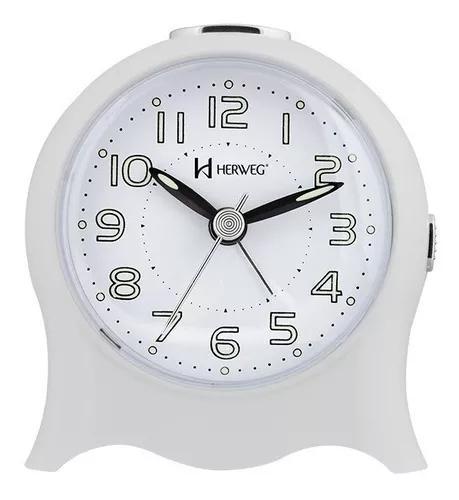 Relógio despertador silencioso pilha luz branco herweg 2572