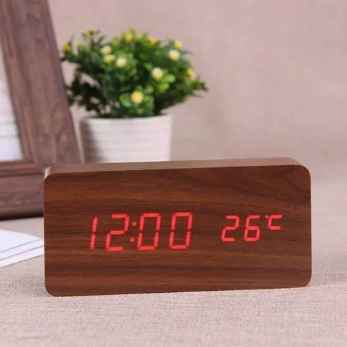 Relógio digital led cabeceira com termômetro estilo