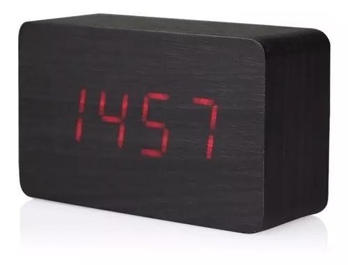 Relógio digital led estilo madeira com termômetro