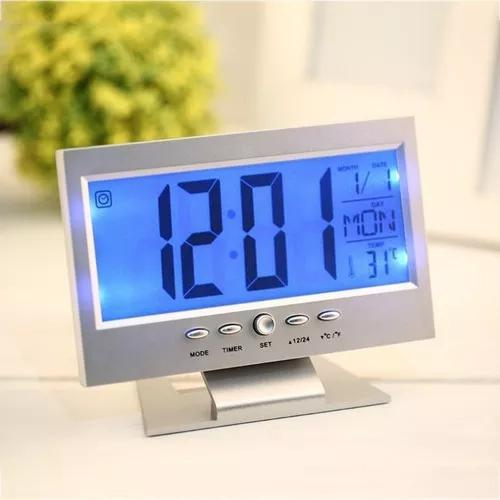 Relogio digital de parede ou mesa e despertador cor cinza