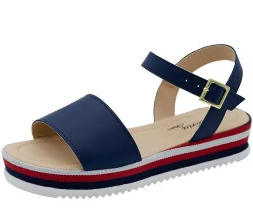 Sandalia infantil menina anabela tratorada avarca salto moda