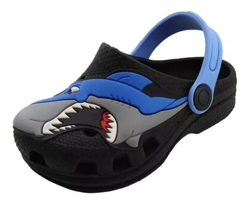 Sandália infantil babuche tubarão preto menino