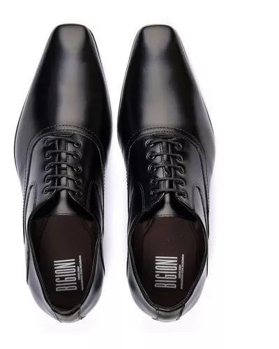 Sapato italiano sola de couro bico fino masculino de amarrar