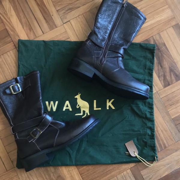 Bota couro marrom side walk tamanho 34