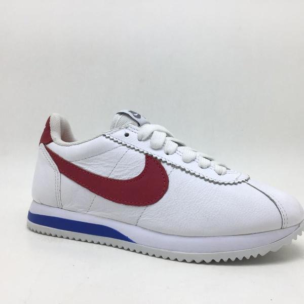 Tênis Feminino Nike Cortez Todo No Couro Branco Vermelho