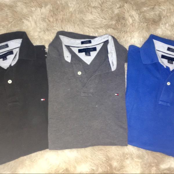 Trio de camisetas polo tommy hilfiger