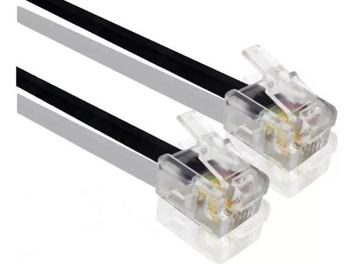 Extensão cabo telefone fio rj11 lisa 30 metros 4 vias preto