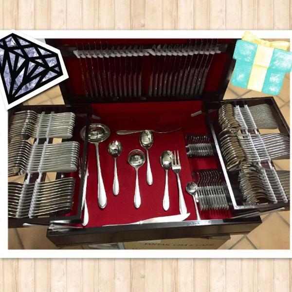 Faqueiro português luxo inox 130 pçs. cx. em madeira