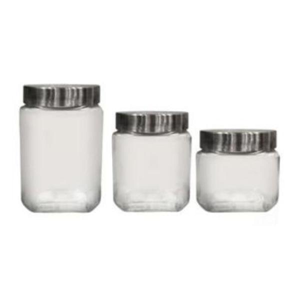 Jogo porta mantimentos 3 peças em vidro dynasty kitchen med