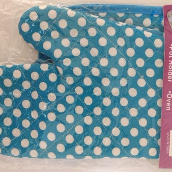 Kit gourmet cozinha 2 pçs luva pega panelas azul bolinha