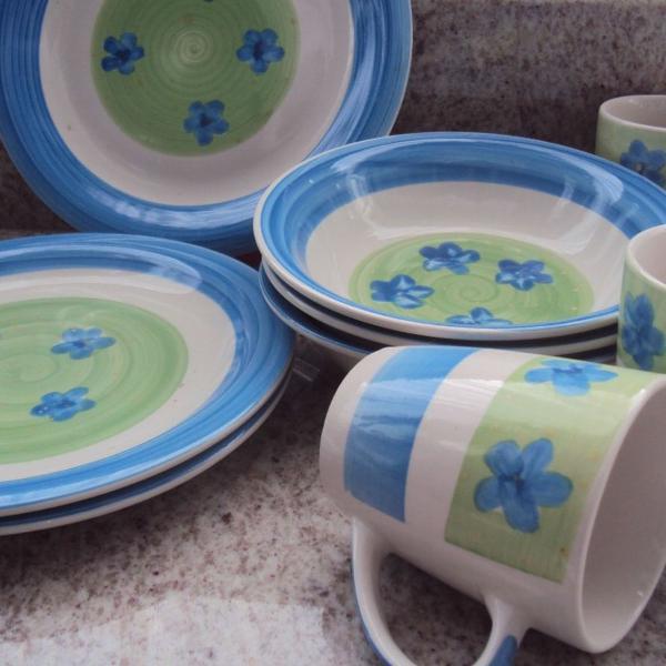 Kit jantar porcelana floral
