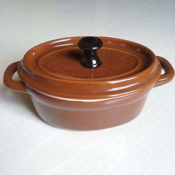 Mini caçarola com tampa em ceramica nova