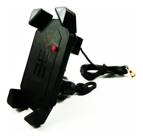 Suporte e carregador usb celular gps moto universal guidão