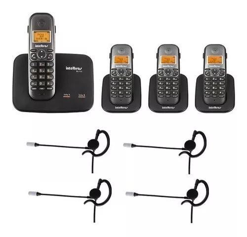 Telefone 2 linhas ts 5150 + 3 ramais + 4 fones intelbras
