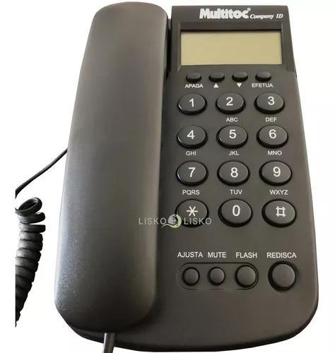 Telefone com fio e identificador company id grafite multitoc
