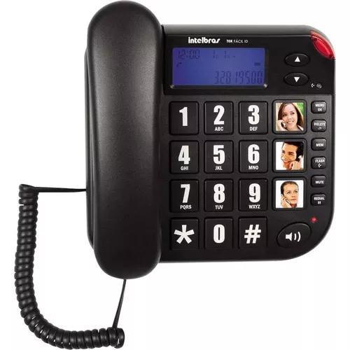 Telefone com fio tok fácil com id intelbras 4000073