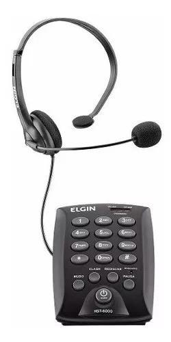Telefone headset base discadora fone fixo fio hst6000 elgin