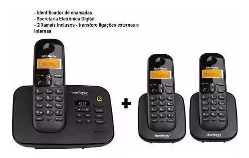Telefone S/ Fio C/ 2 Ramais Secretária Id Ts 3130 Intelbras