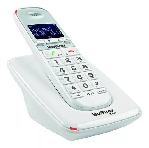 Telefone s/ fio p/ idosos c/ id de chamadas e viva-voz ts63v