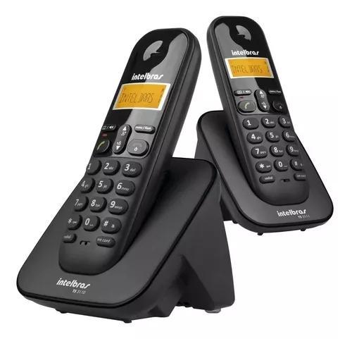 Telefone s/ fio + ramal intelbras ts 3112 preto display