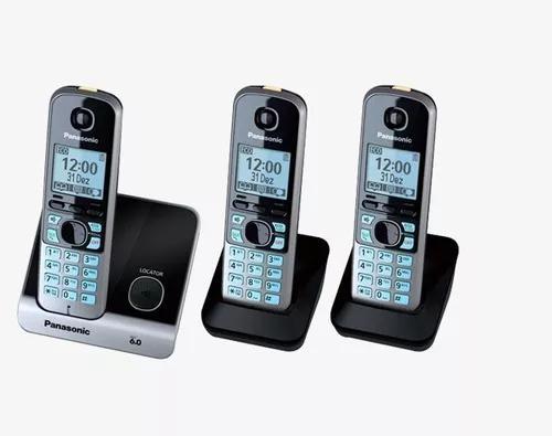 Telefone s/fio dect 6.0 c/id + 2 ramais kxtg6713lb panasonic