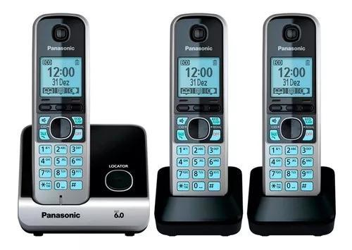 Telefone s/fio dect 6 c/id + 2 ramais kxtg6713lbb panasonic