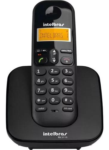 Telefone s/fio ts3110 id display luminoso preto intelbras