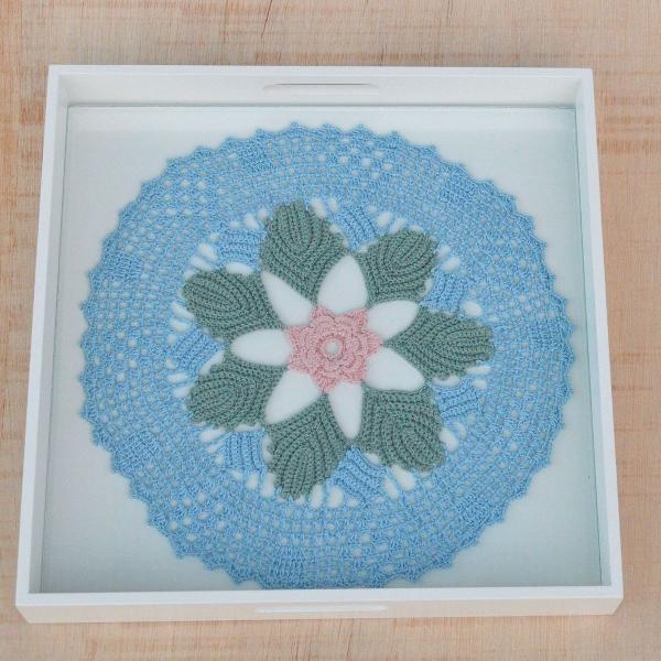 Bandeja crochê flor