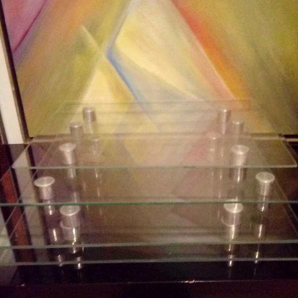 Bandeja, suporte para bolo ou prateleiras em vidro