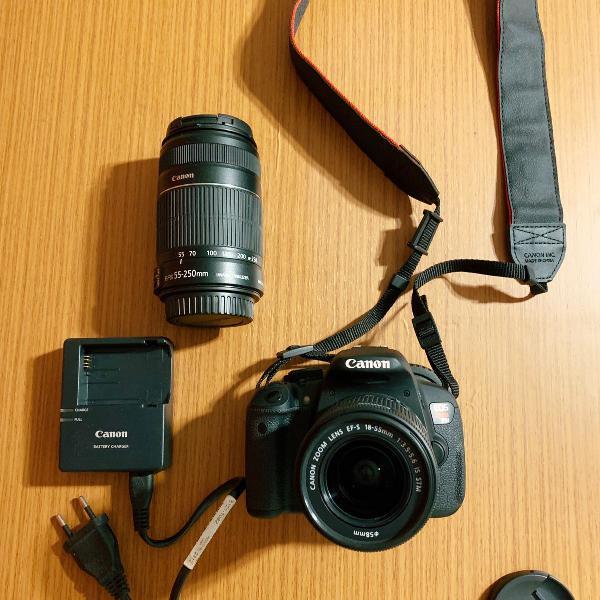Câmera fotográfica canon rebel t5i + lente 55-200mm + 02