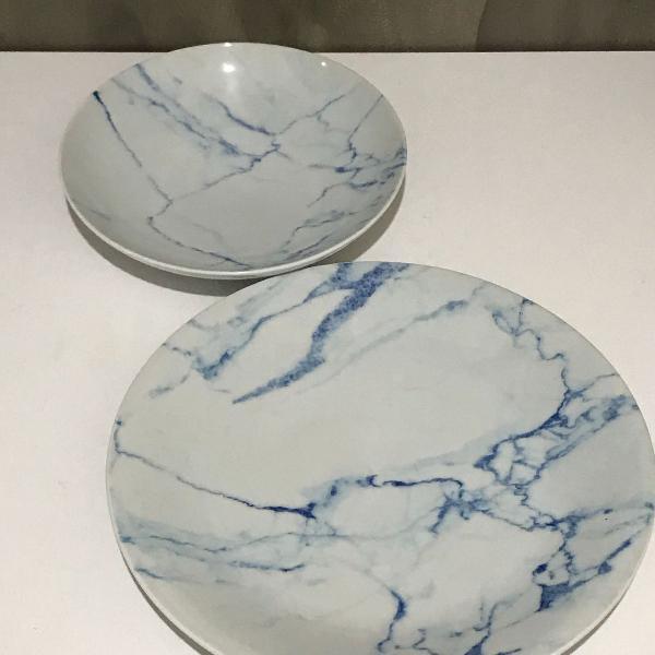 Conjunto 12 pratos de porcelana mármore azul