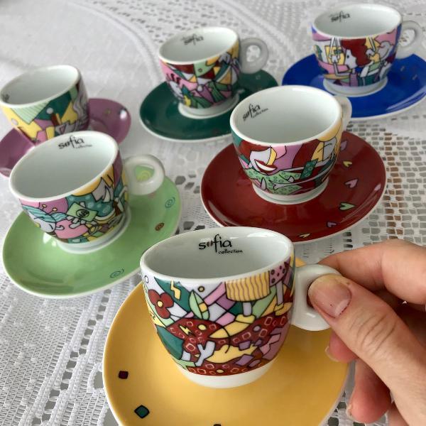 Conjunto xícaras com pires collecion sofia porcelana