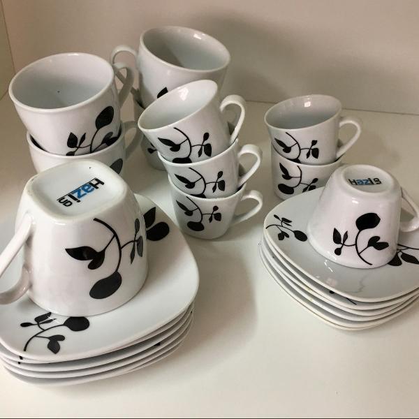 Jogo chá/café porcelana hazi
