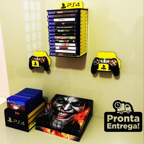 Kit porta jogos de parede + porta jogos de mesa + par de