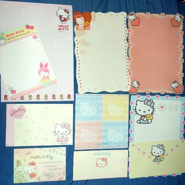 Lote papel de carta e envelope hello kitty