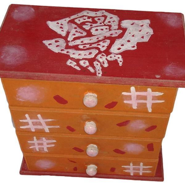 Porta joias porta bijuterias gaveteiro mdf pintado a mão