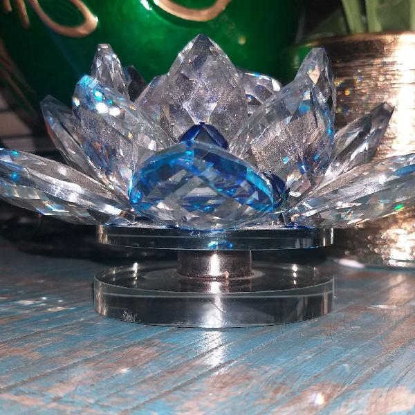 Flor de lótus verde azul em cristal/giratória