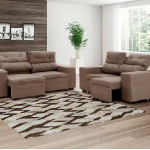 Sofá retrátil e reclinável 2 e 3 lugares suede