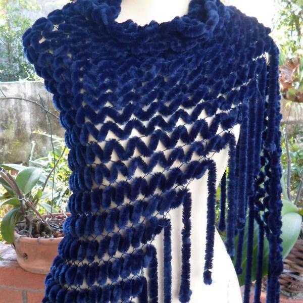 Xale lã - azul marinho