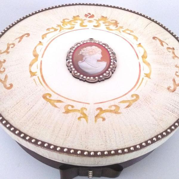 Caixa mdf decorada 25 x 7 cm com aplicações decorativa