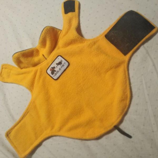 Casaco colete amarelo para cachorro ou gato - roupinha pet