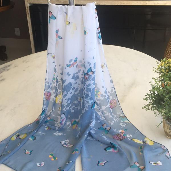 Lenço echarpe crepe chiffon borboletas branco azul