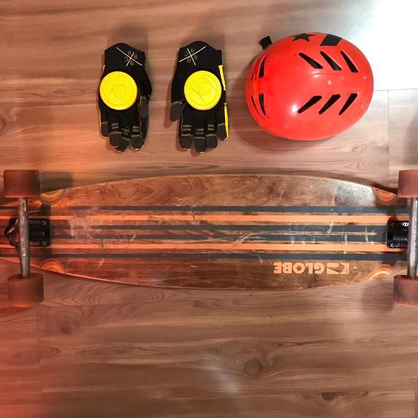 Long board globe pinner laranja e marrom (+luva+capacete)