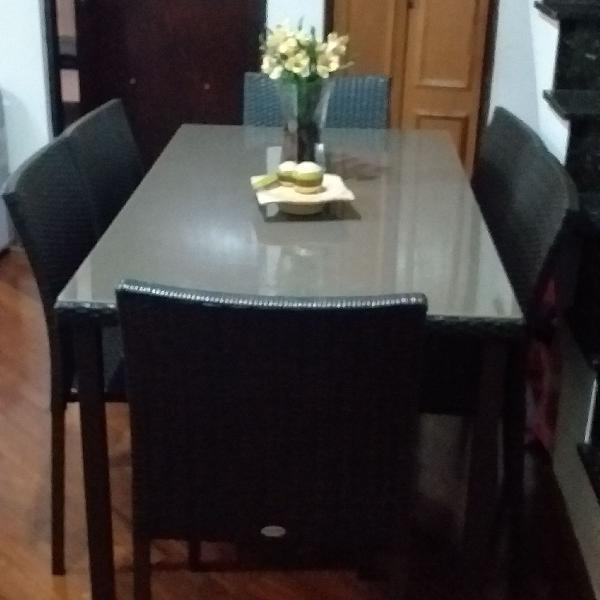 Mesa c/ 6 cadeiras para jardim ou varanda gourmert