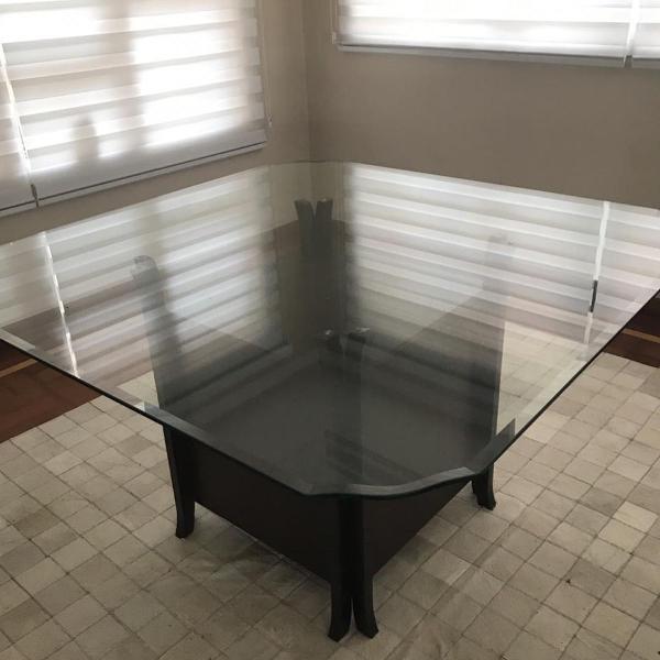 Mesa vidro suporte madeira