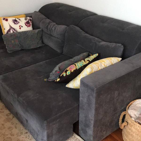 sofá suede cinza loja formato
