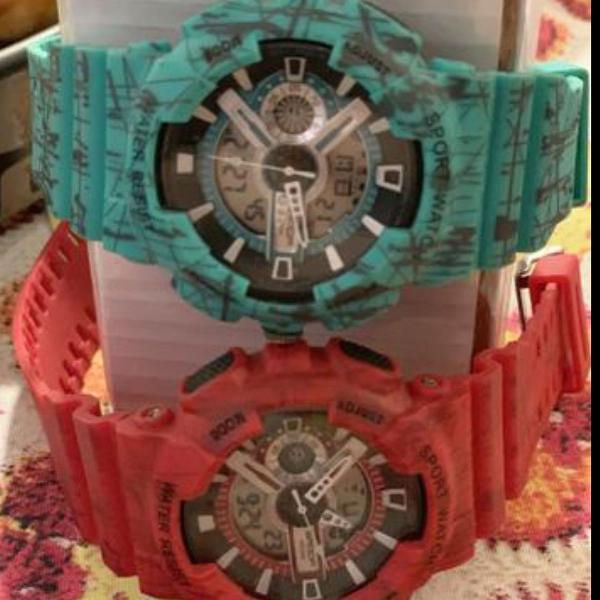 2x relógio estilo g shock resistente à água